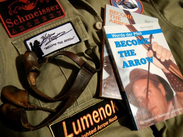 """Proud to wear them -  the official Byron Ferguson """"Become the Arrow-Signature""""-sew on patch, the Schmeisser Archery, the Lumenok sew on. Thank You & Happy 2015!"""