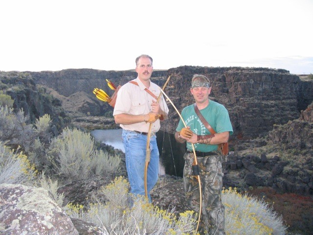 Master bowyer Nate Steen and Austrian bowhunting legend Theo Schett at the Snake River Canyon, Twin Falls, Idaho.