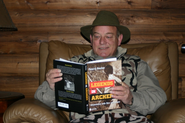 Byron Ferguson reading Legends in Archery by Peter O. Stecher.
