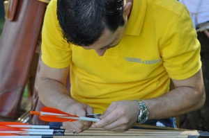 Austrian Longbowman Dietmar Szarka taking care on his arrows. Manuscripts of Archery Wisdom, Master Fun Li, by Peter O. Stecher, 2011