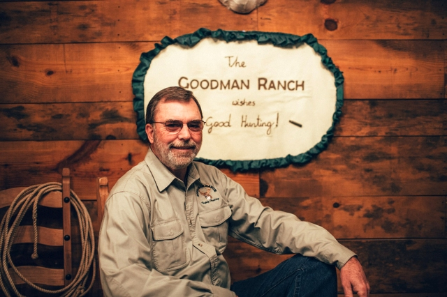 "Mike Goodman with the ""Goodman Ranch"" Wall Hanging by Sabine Burg, TextileVisions."