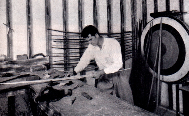 Early Howard Hill in his archery workshop.