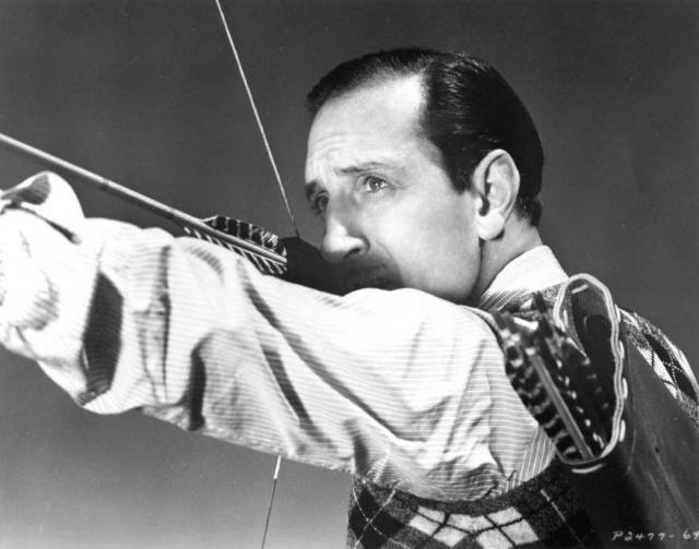 Basil Rathbone with Howard Hill longbow.