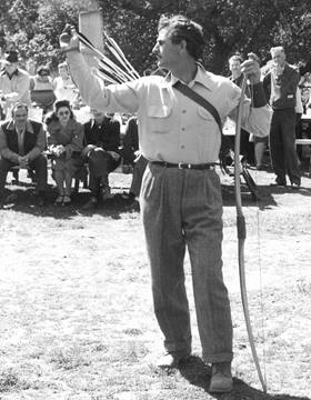 Classic Bowman Howard Hill in Legends in Archery - Adventurers with Bow and Arrow, Photo by Heinz Hoffmann, 2015.