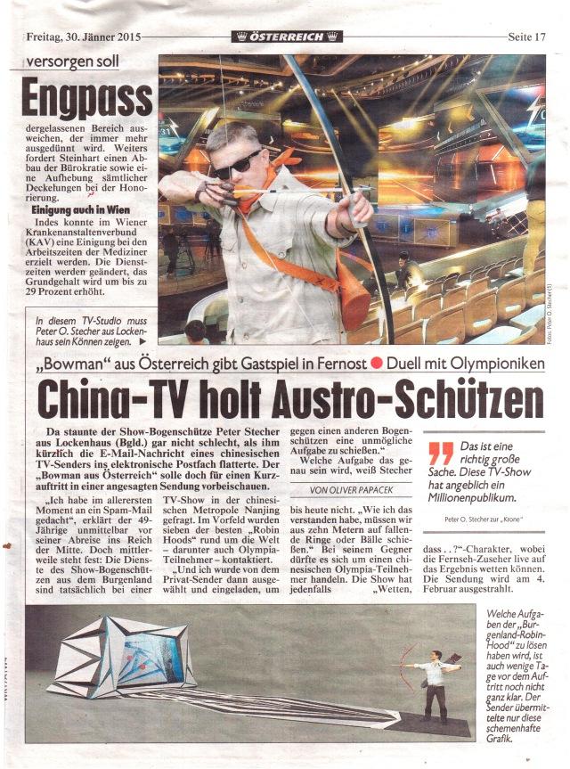 Austrian 弓人 Bowman Peter O. Stecher goes to China, Österreichische Kronen Zeitung