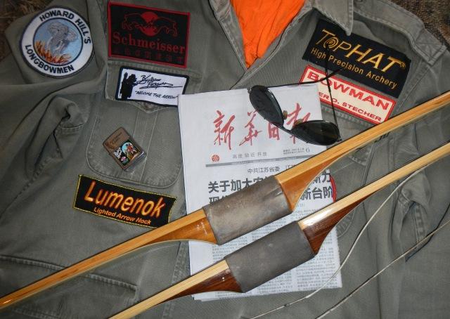 "Austrian Bowman Peter O. Stecher's Howard Hill Archery custom longbows,""Tiger"" & ""Kitty""."