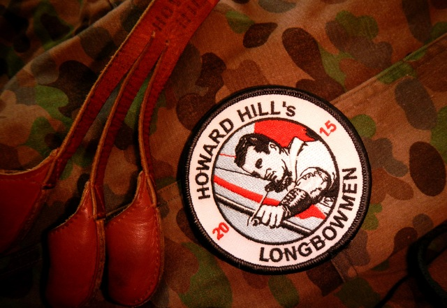 "The 2015 ""Howard Hill's Longbowmen"" sew on patch. In Agreement with Howard Hill Archery, USA. Designed by Herwig Art, Austria."