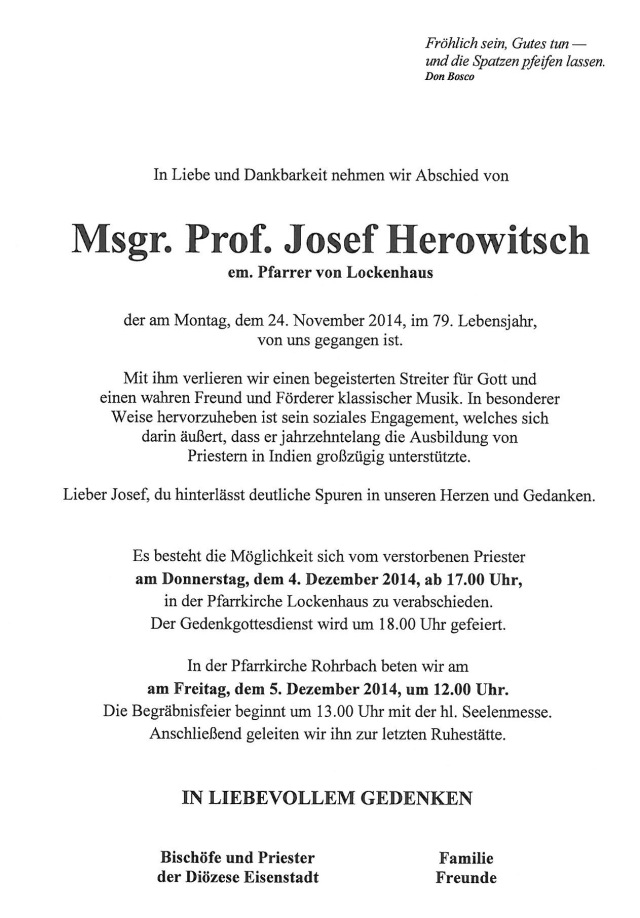 Msgr.-Geistl.Rat-Prof.-Josef-Herowitsch, Pfarrer von Lockenhaus von 1972 bis 2012.