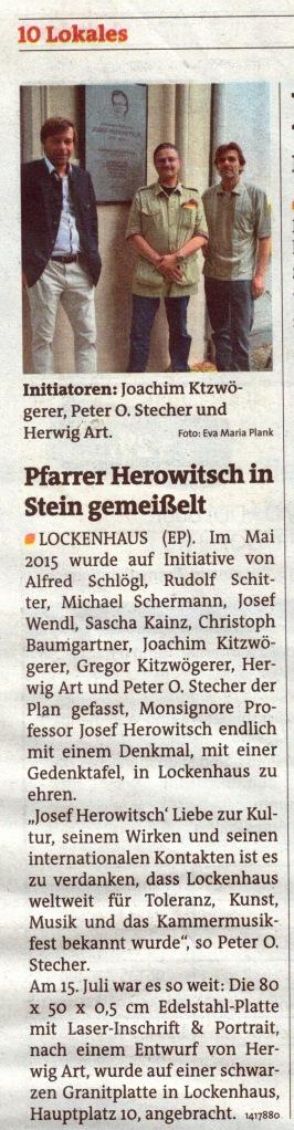 Bezirksblätter Oberpullendorf, Feature & Foto von Eva Maria Plank, 2015