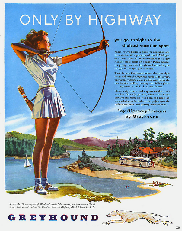 Vintage Greyhound Ad with Archery