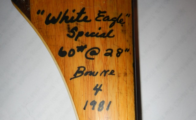 """WHITE EAGLE II"", Howard Hill longbow made by Jerry Hill."