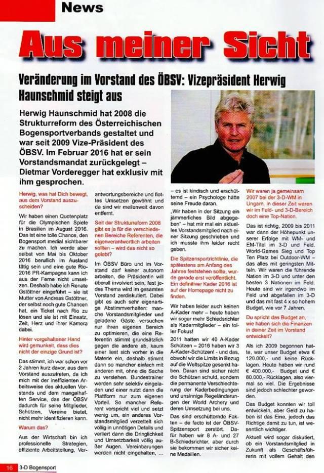 Uneinigkeit im ÖBSV - 3D Bogenport Magazin