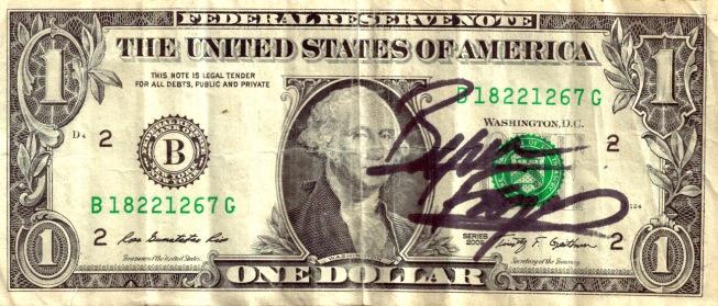 Byron Ferguson-signed Dollar Bill sold in Auction