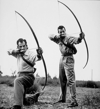 Howard Hill and Guy Madison in 1953. Photo by Sid Avery.