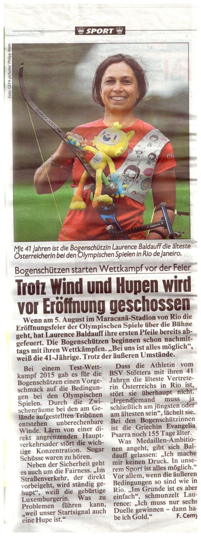 Bravo Laurence Baldauff! Shoot Straight in Rio! Quelle Kronen Zeitung