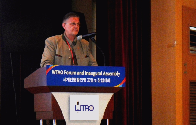Austrian 'Bowman' Peter O. Stecher holding a speech at the World Traditional Archery Organisation Inaugural Assembly in Yecheon, Korea.