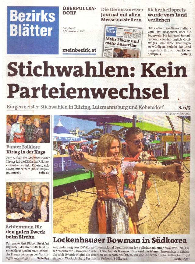 Model Michaela Wolf und Bowman Peter O. Stecher sind Österreichische Kultur-Botschafter in Yecheon Korea. Bezirksblätter, Artikel von Eva Maria Plank, 2017