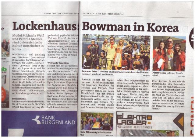 Model Michaela Wolf und Bowman Peter O. Stecher sind Österreichische Kultur-Botschafter in Yecheon Korea. Bezirksblätter, Artikel von Eva Maria Plank, 2017.